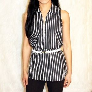 Ralph Lauren stripe denim rope belt tunic blouse
